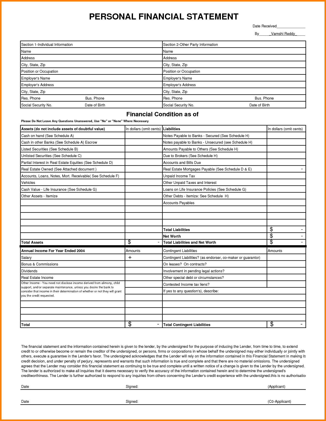 Personal Financial Statement Spreadsheet Inside Individual