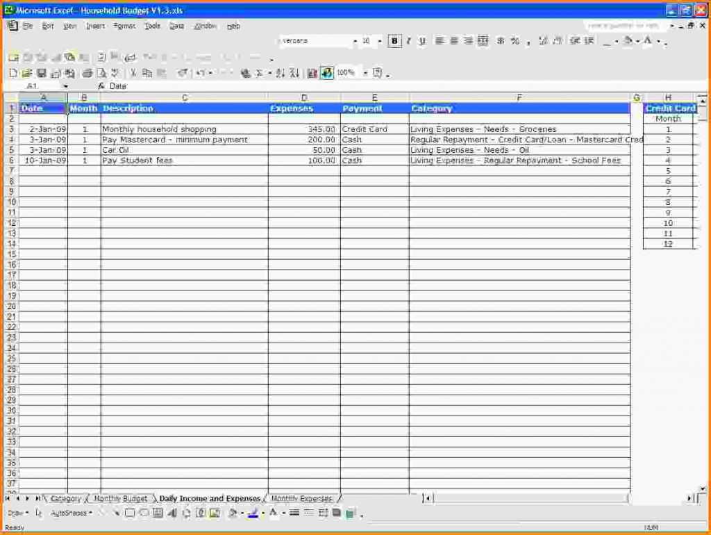 Personal Income And Expenses Spreadsheet In Personal