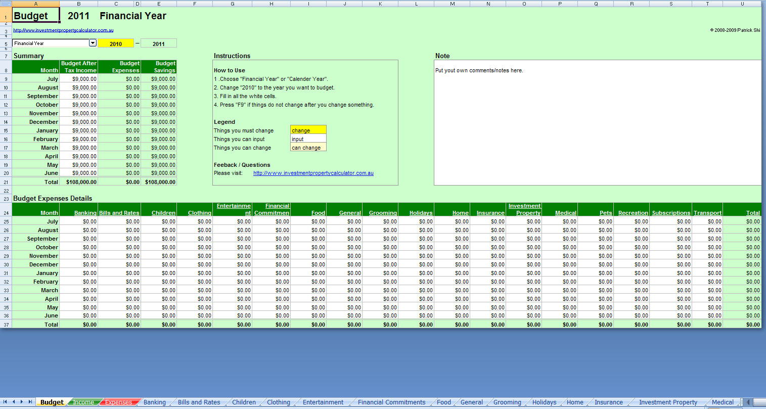 Personal Monthly Budget Excel Spreadsheet In Budget