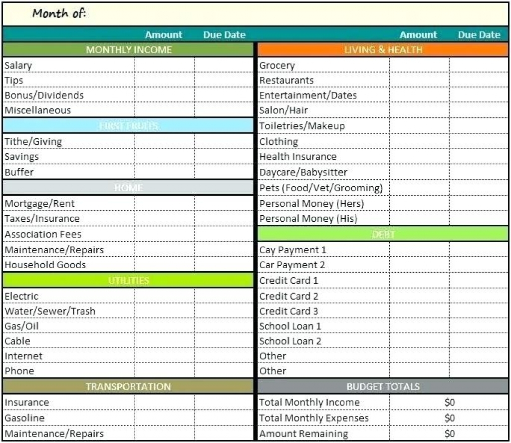 Personal Monthly Budget Excel Spreadsheet