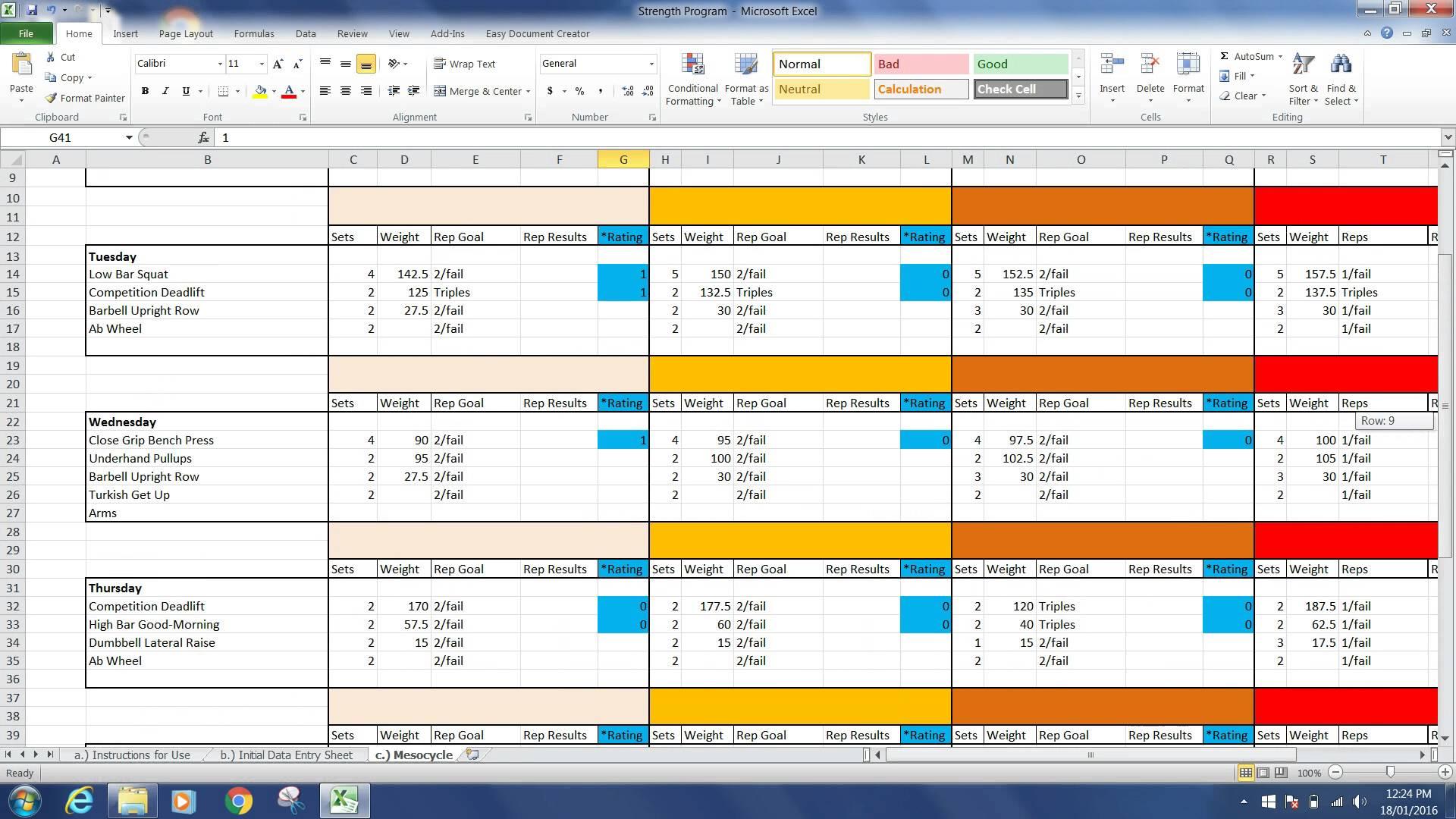 Powerlifting Excel Spreadsheet