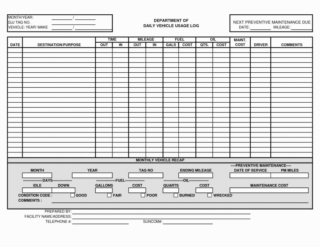 Preventive Maintenance Spreadsheet Template Within