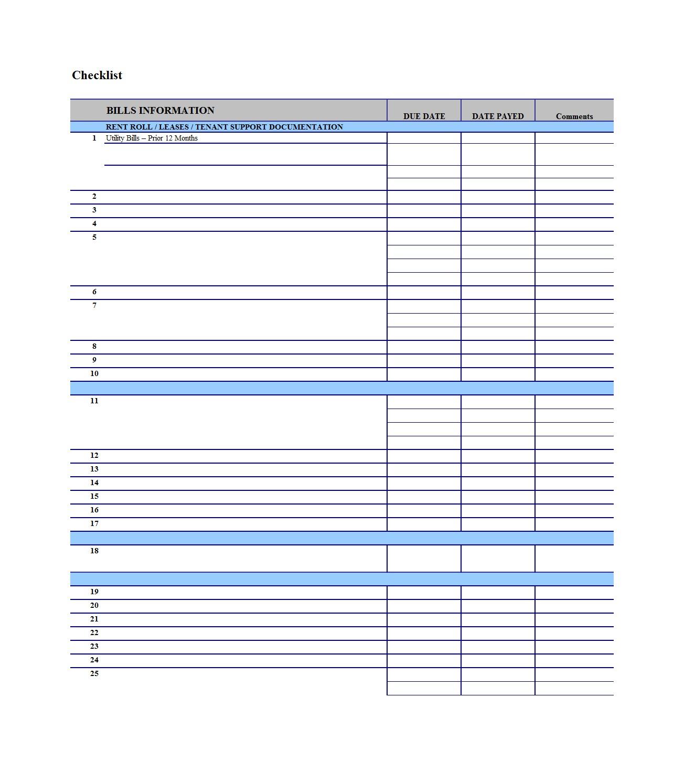 Printable Spreadsheet For Bills Spreadshee