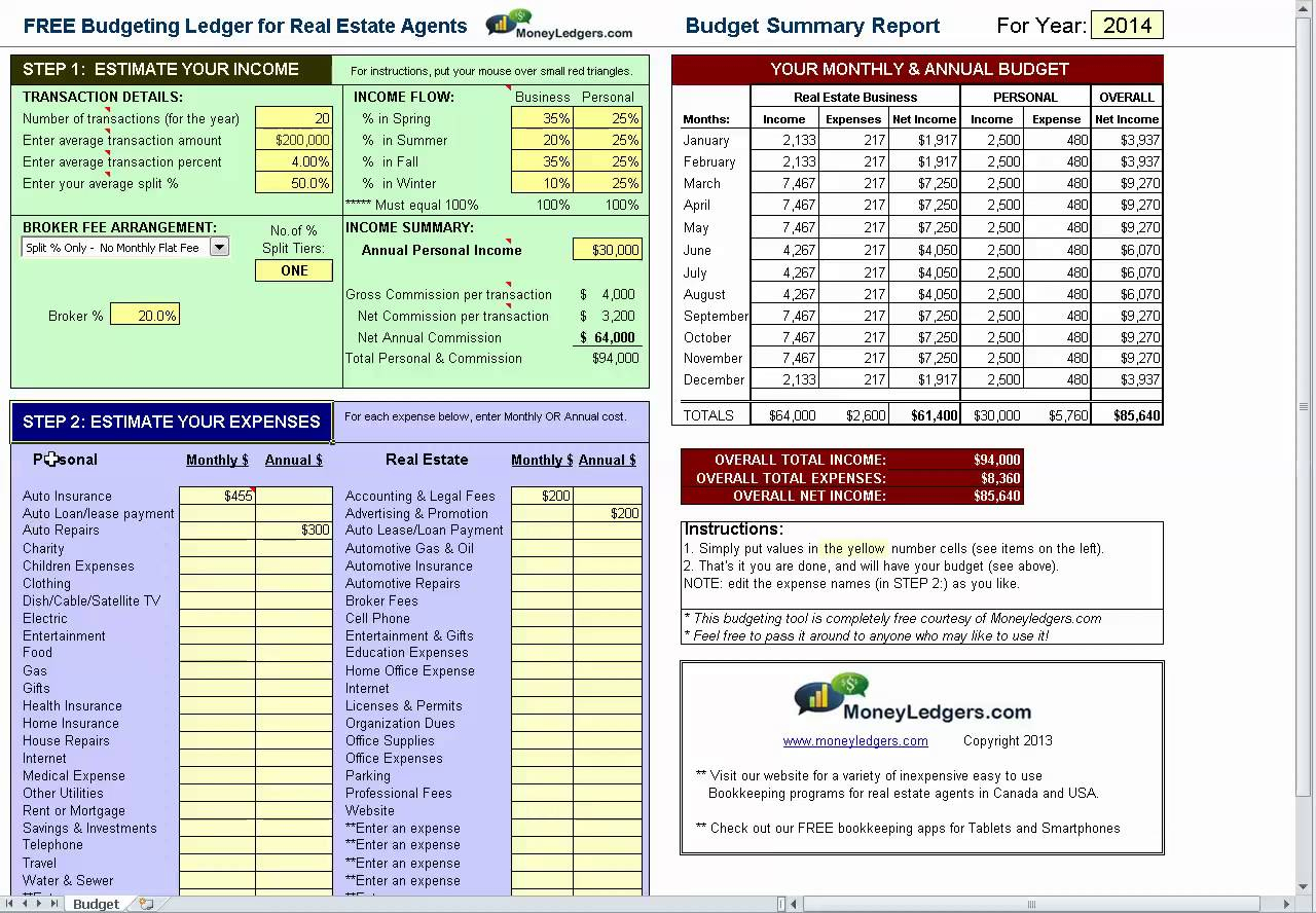 Real Estate Agent Commission Spreadsheet Intended For Real