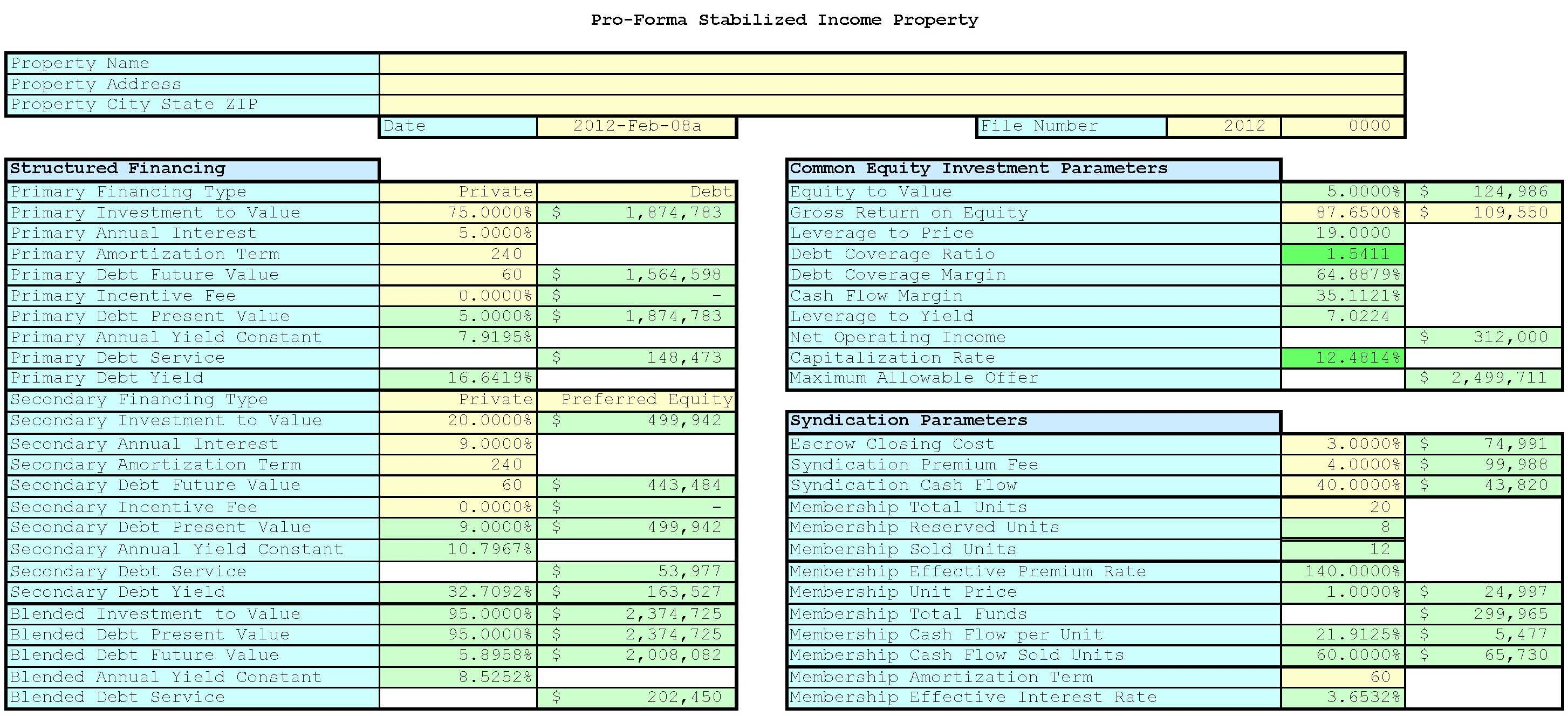 Real Estate Pro Forma Spreadsheet With Regard To 67 Real