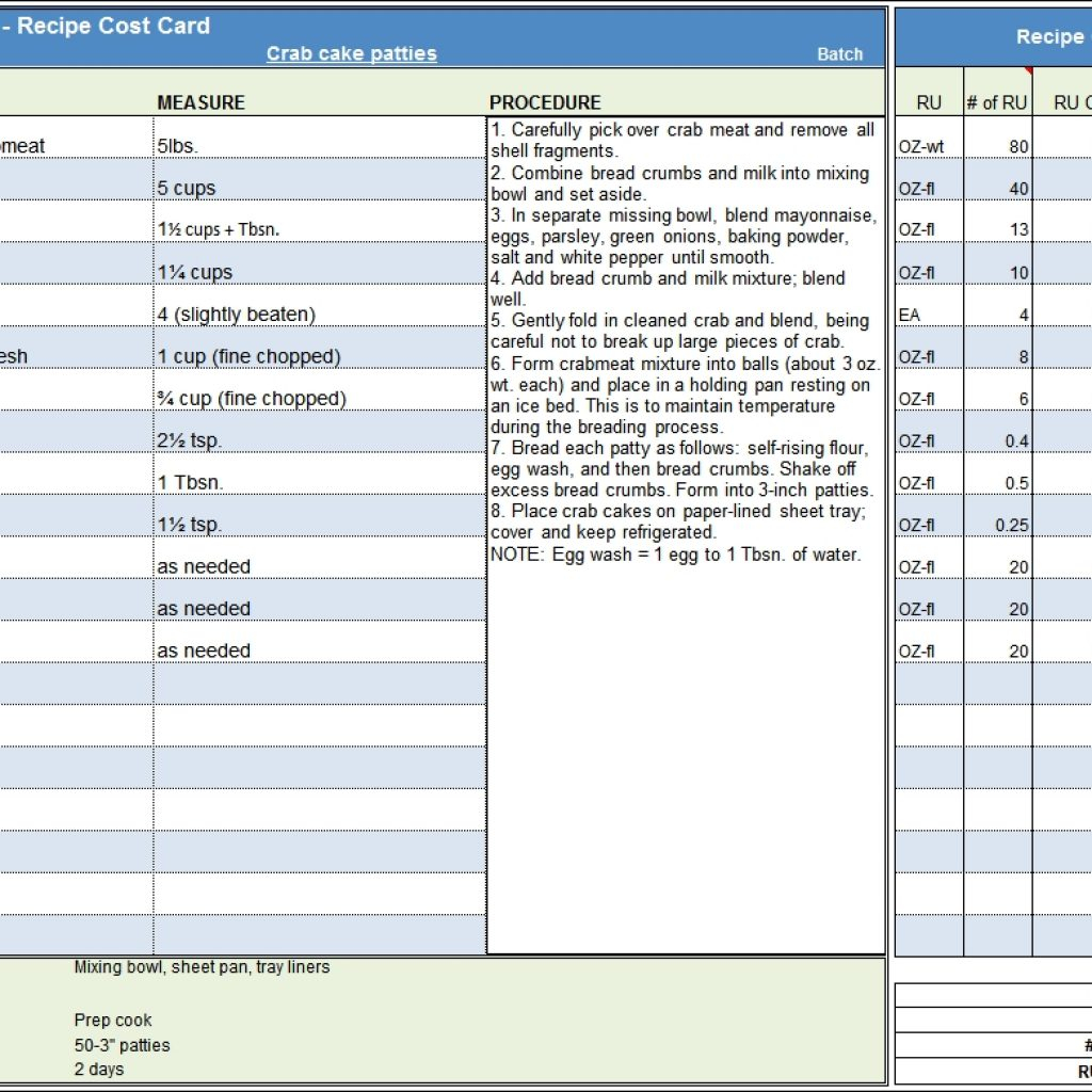 Recipe Spreadsheet Inside Menu Recipe Cost Spreadsheet