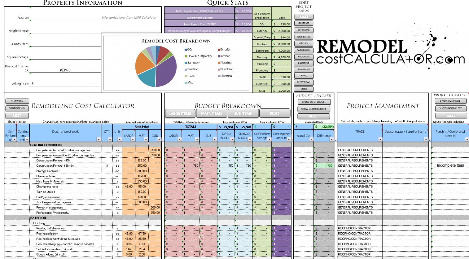 Remodeling Expense Spreadsheet Spreadsheet Downloa Remodeling Expense Spreadsheet