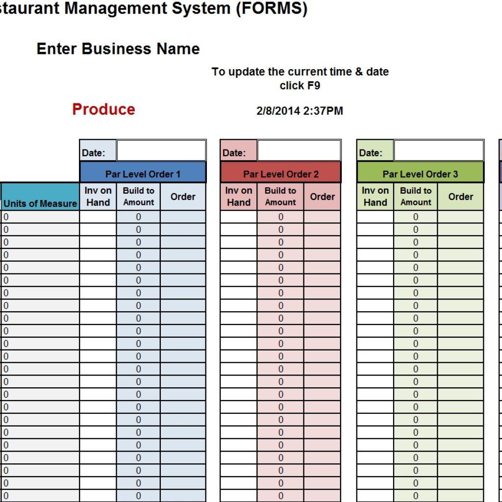 Restaurant Bar Inventory Spreadsheet For Restaurant