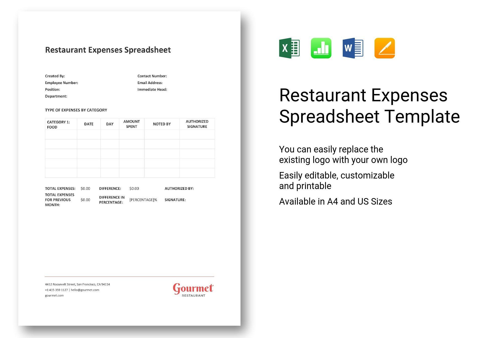 Restaurant Expenses Spreadsheet Intended For Restaurant
