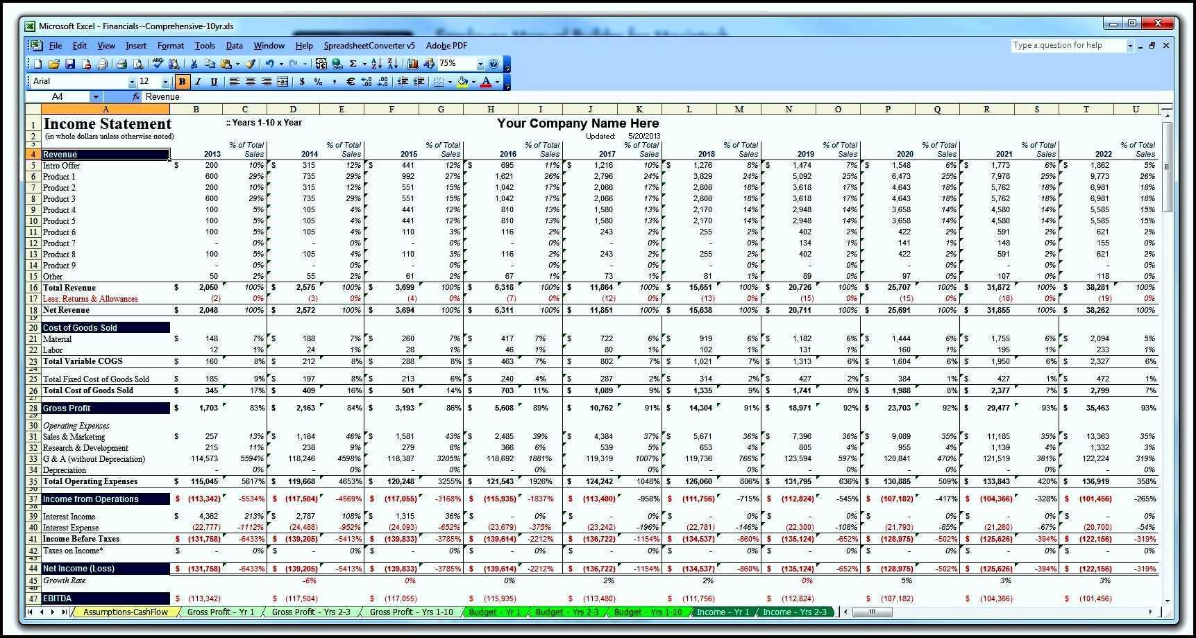 Restaurant Financial Projections Spreadsheet