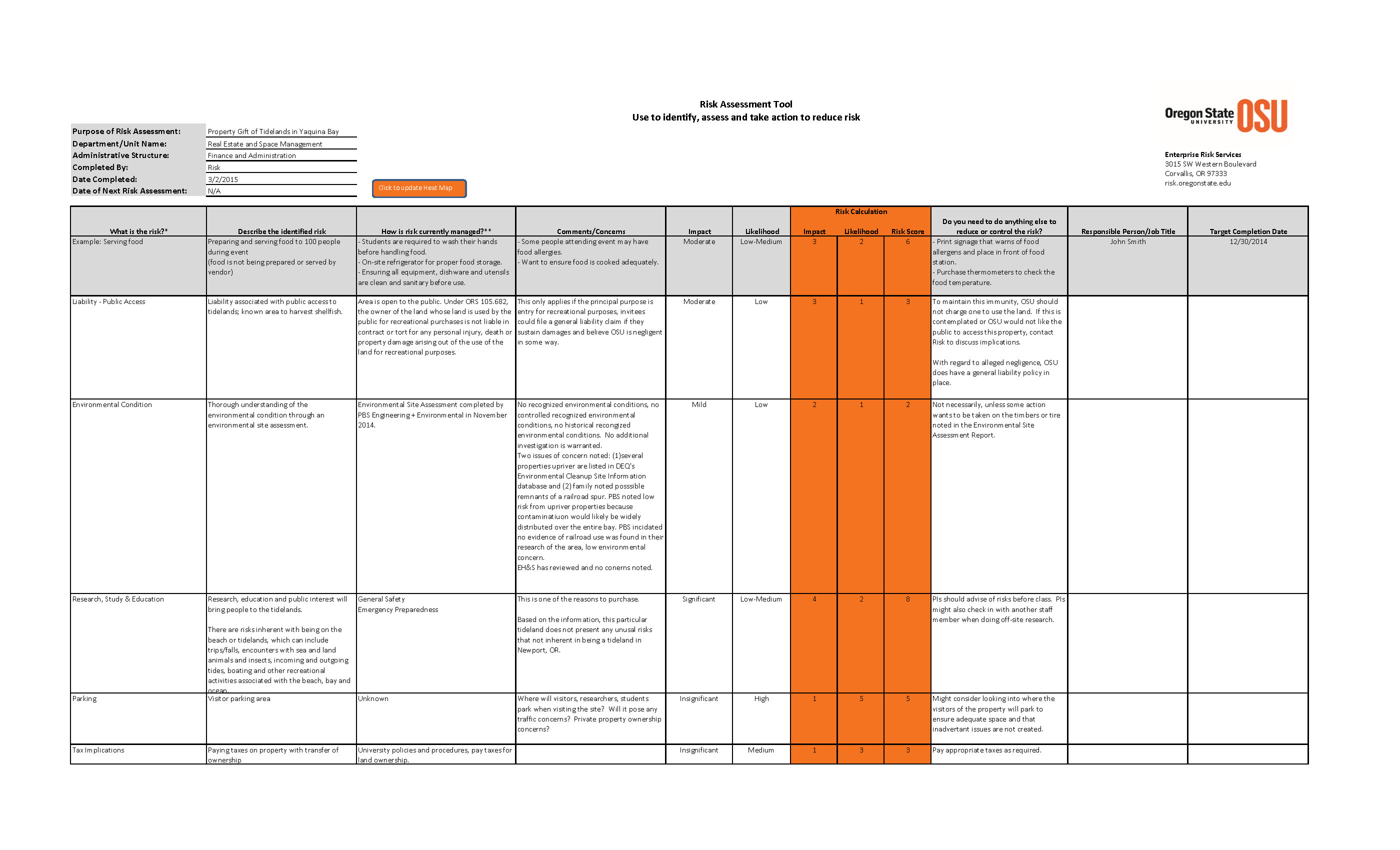 Risk Assessment Spreadsheet Pertaining To Risk Assessment