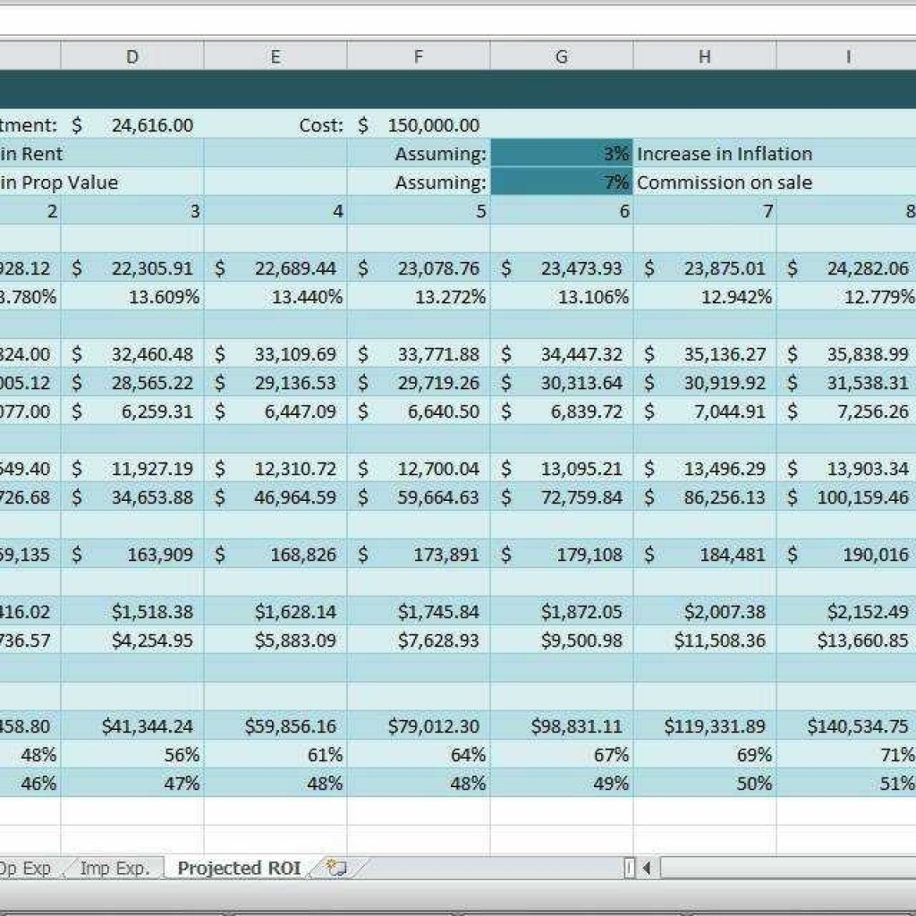 Roiysis Spreadsheet With Investment Property