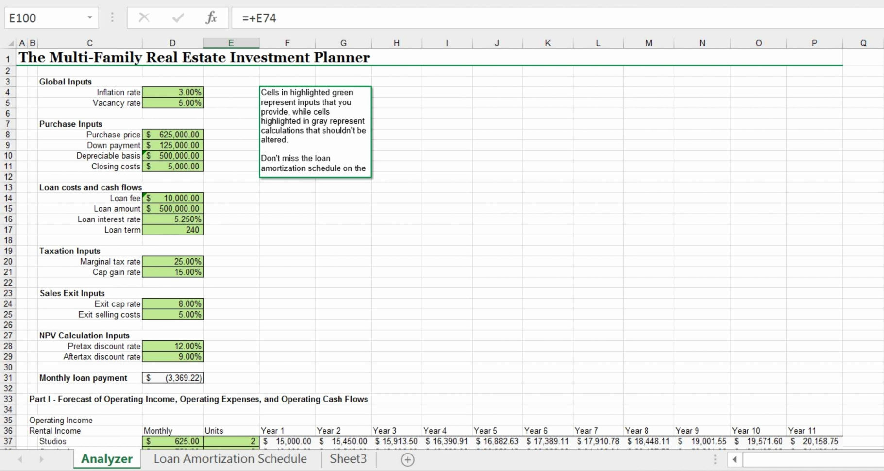 Roi Spreadsheet Template Real Estate Pertaining To