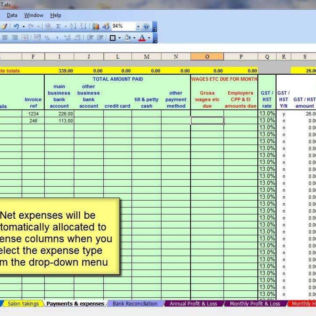 Sample Bookkeeping Spreadsheet Inside Basic Accounting