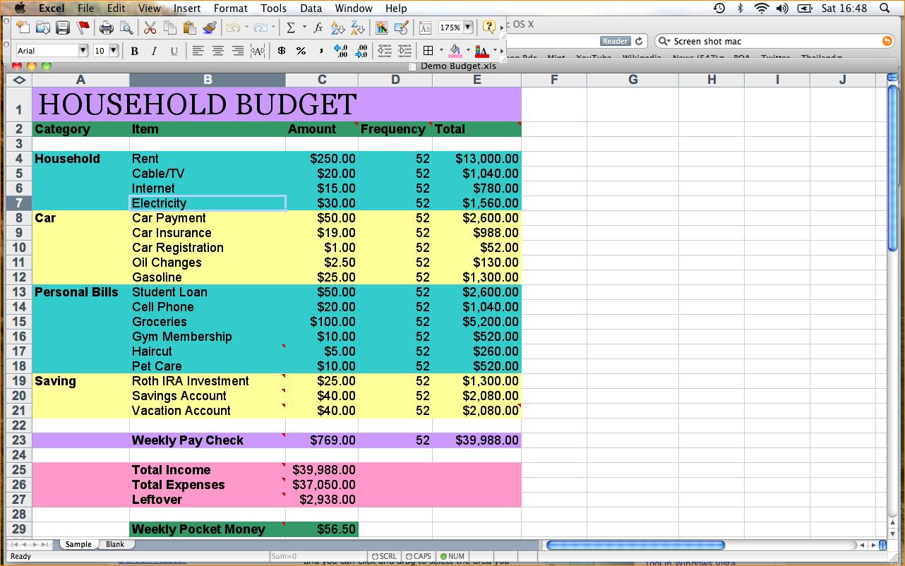 Sample Family Budget Spreadsheet Spreadshee Sample