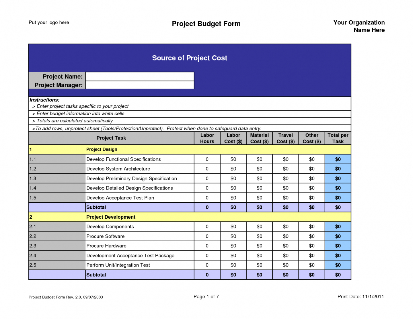 Sample Project Budget Spreadsheet Excel Spreadshee
