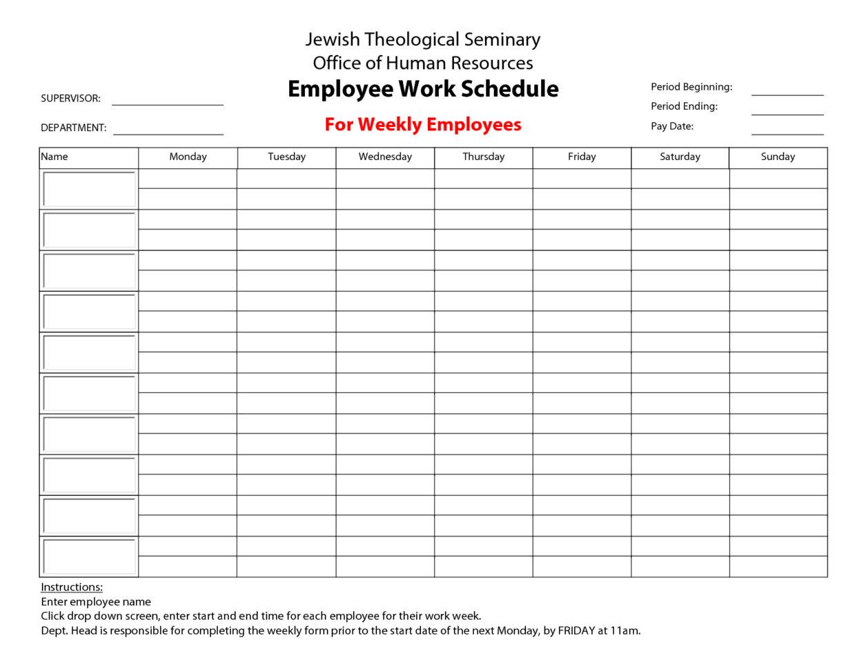 Sample Staff Schedule Spreadsheet Pertaining To Employee