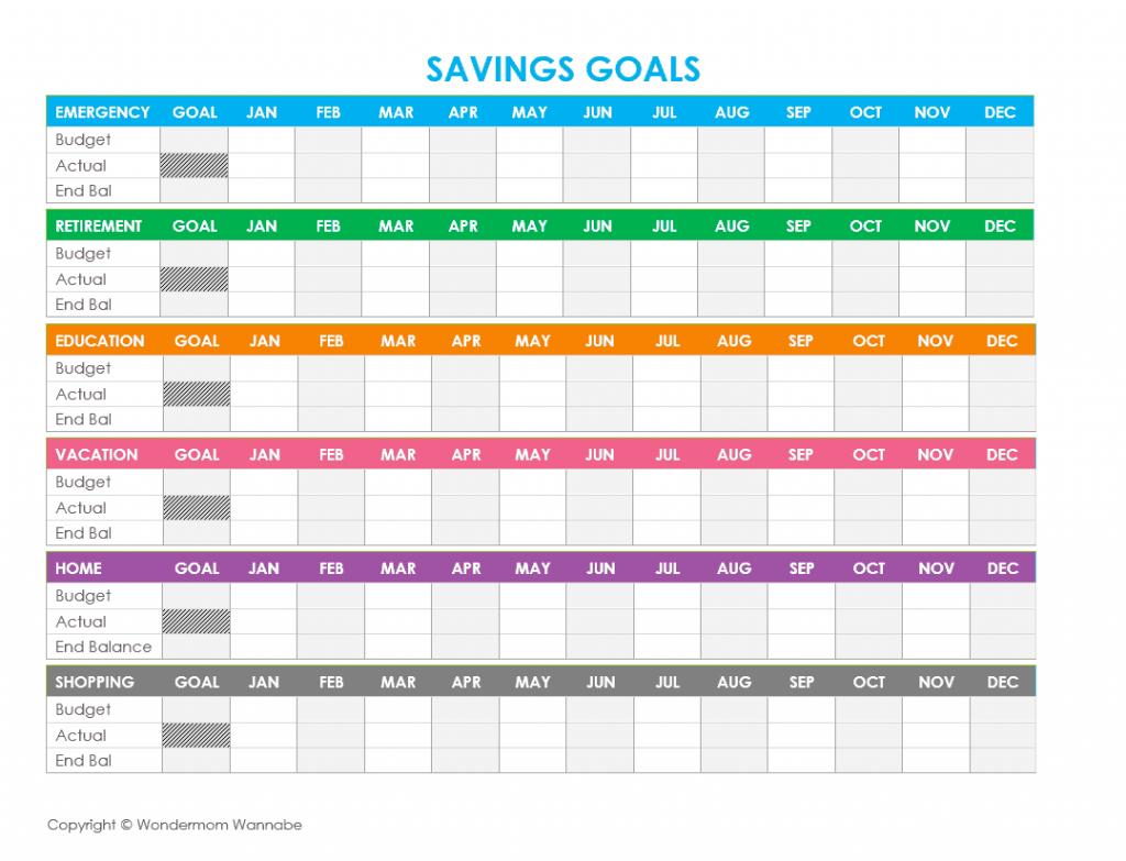 Savings Goal Tracker Spreadsheet Throughout Free Printable