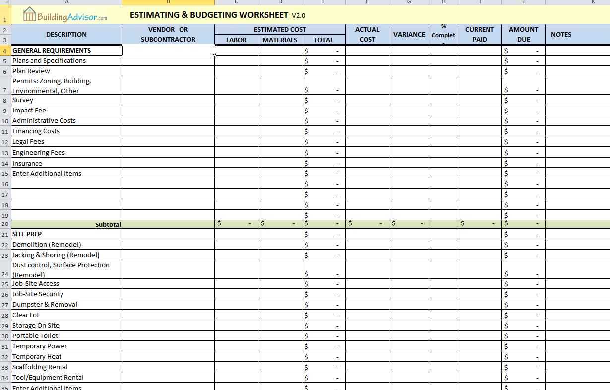 Self Build Spreadsheet Template Spreadshee Self Build Spreadsheet Template