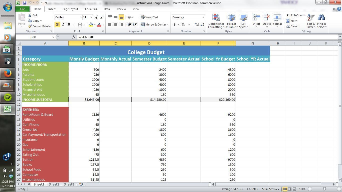 Setting Up An Excel Spreadsheet For Finances Db Excel
