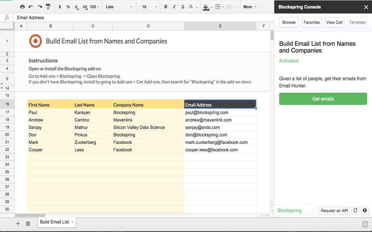 Sheets Spreadsheet Pertaining To Build Email List From