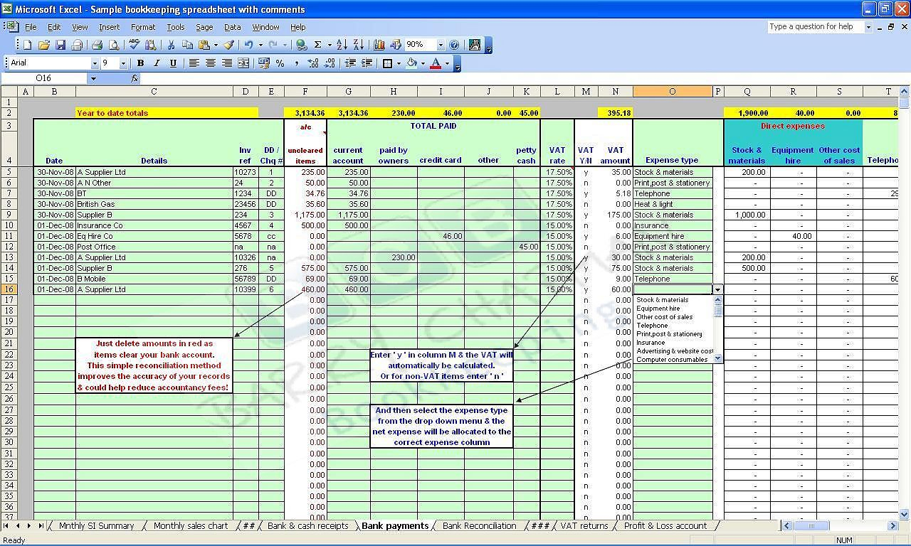 Simple Accounting Spreadsheet Free