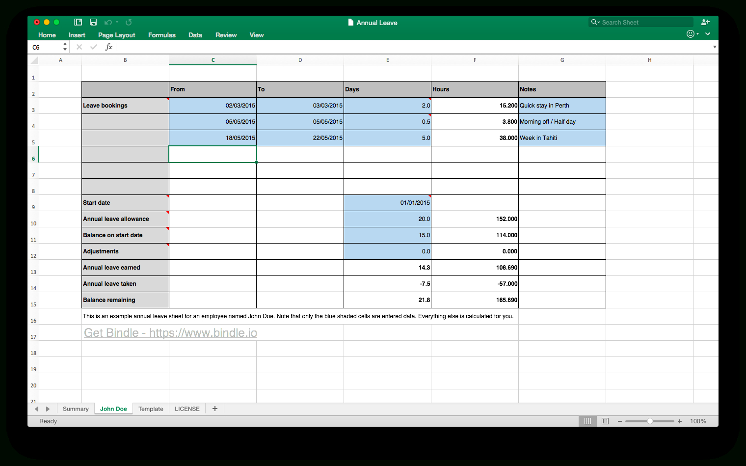 Simple Annual Leave Spreadsheet Db Excel