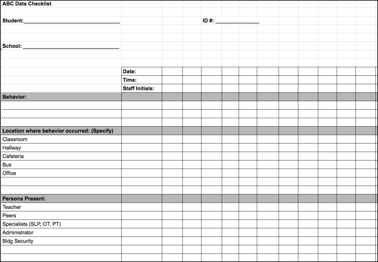 Special Education Accommodations Spreadsheet Spreadsheet