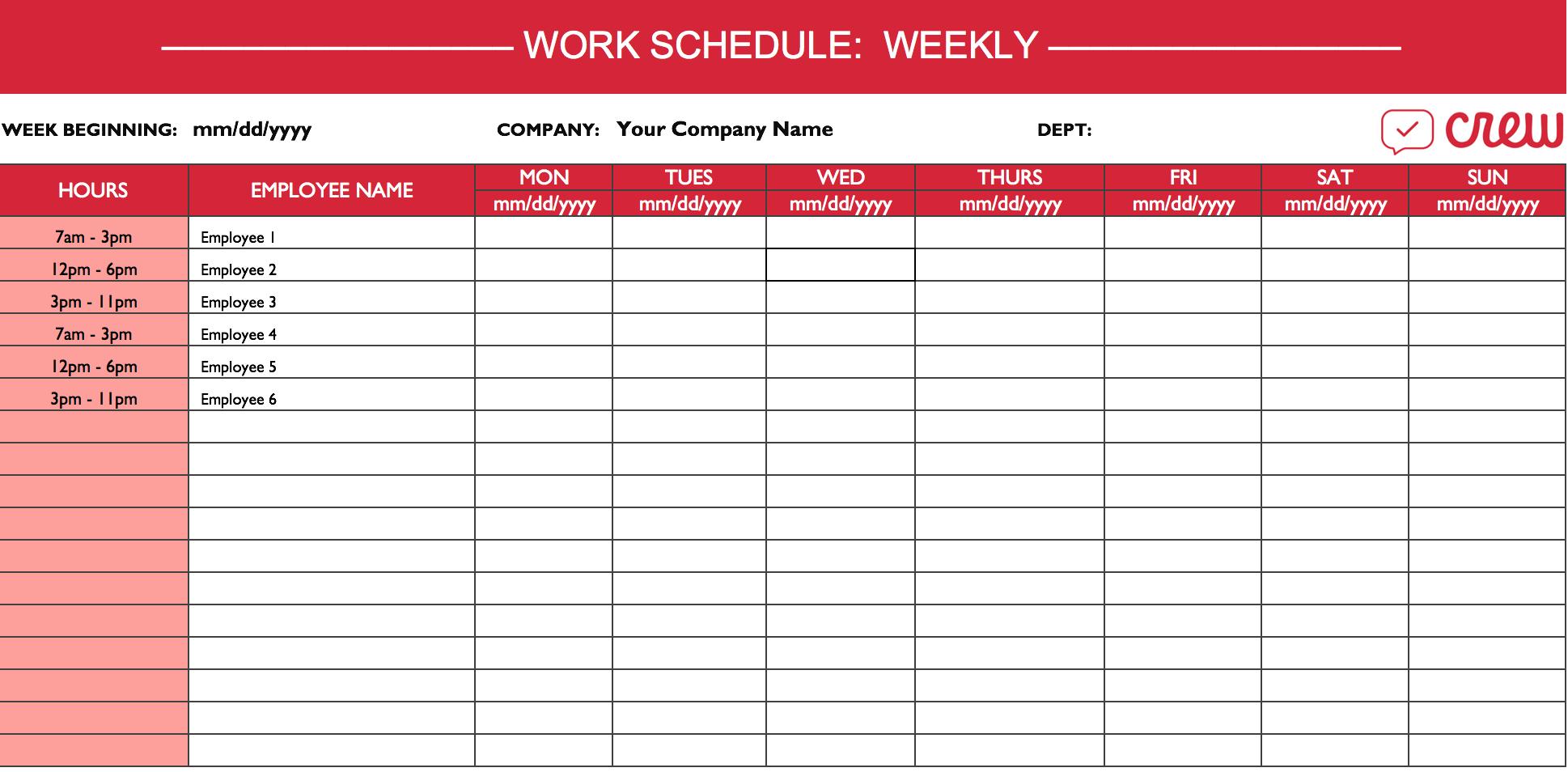 Spreadsheet Employee Schedule Db Excel