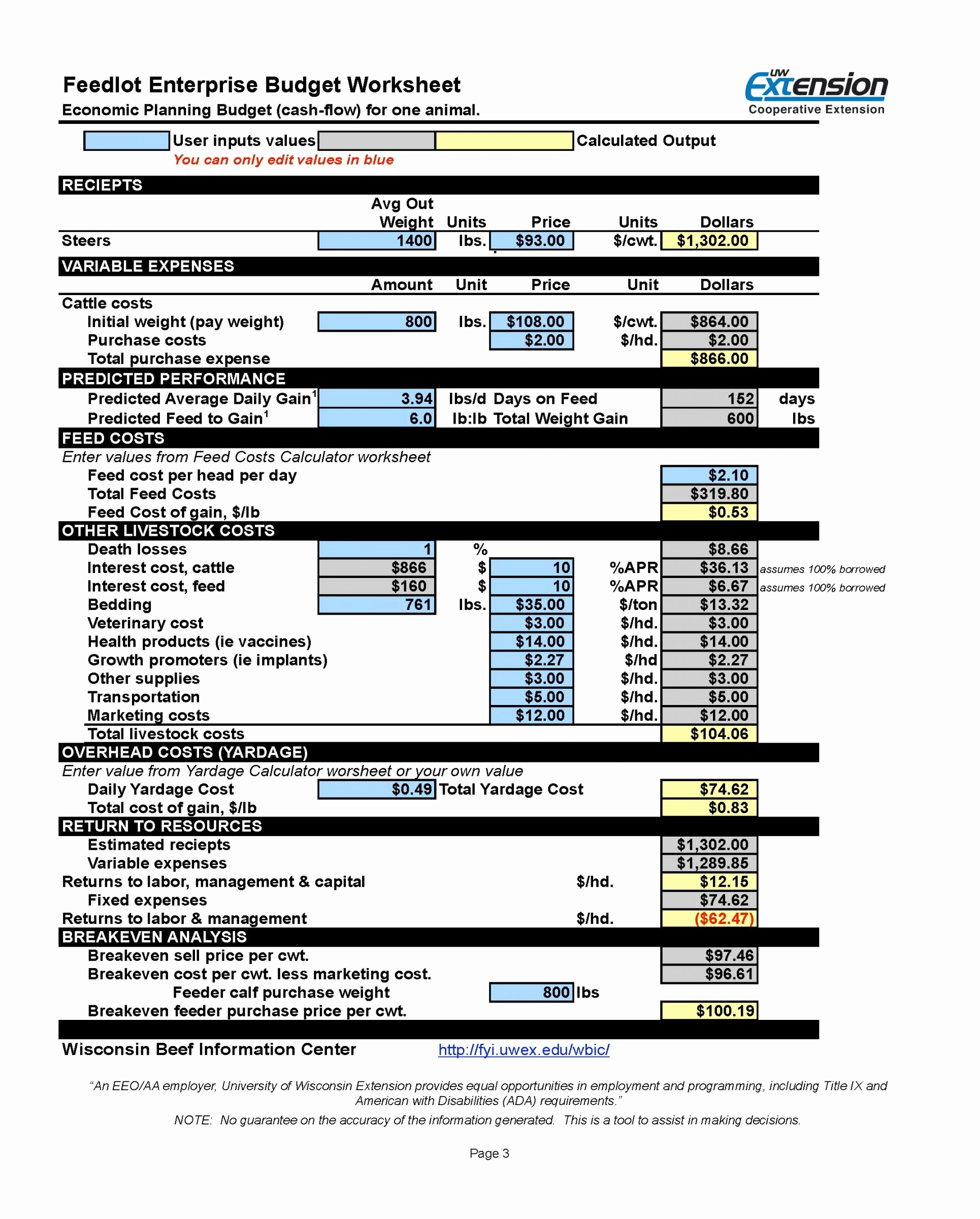 Spreadsheet For Cow Calf Operation In Cattle Inventory