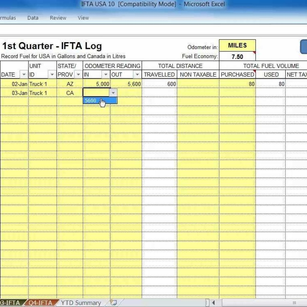 Spreadsheet For Truckers With Ifta Spreadsheet Fuel