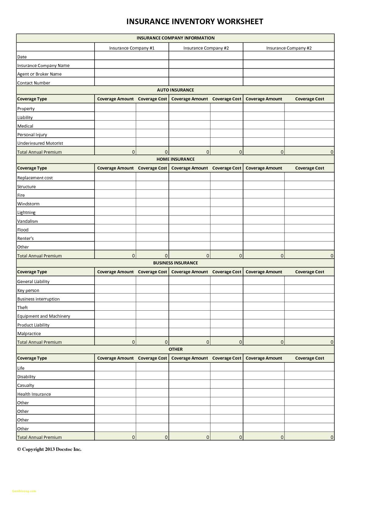 Spreadsheet To Compare Insurance Quotes Regarding