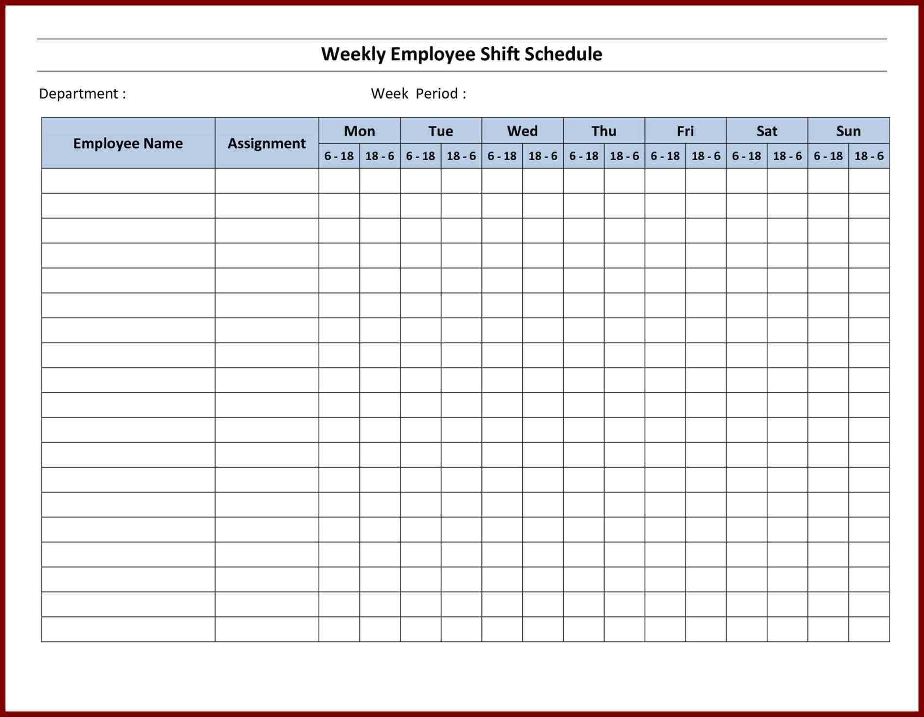 Staff Rota Spreadsheet Throughout Employee Scheduling