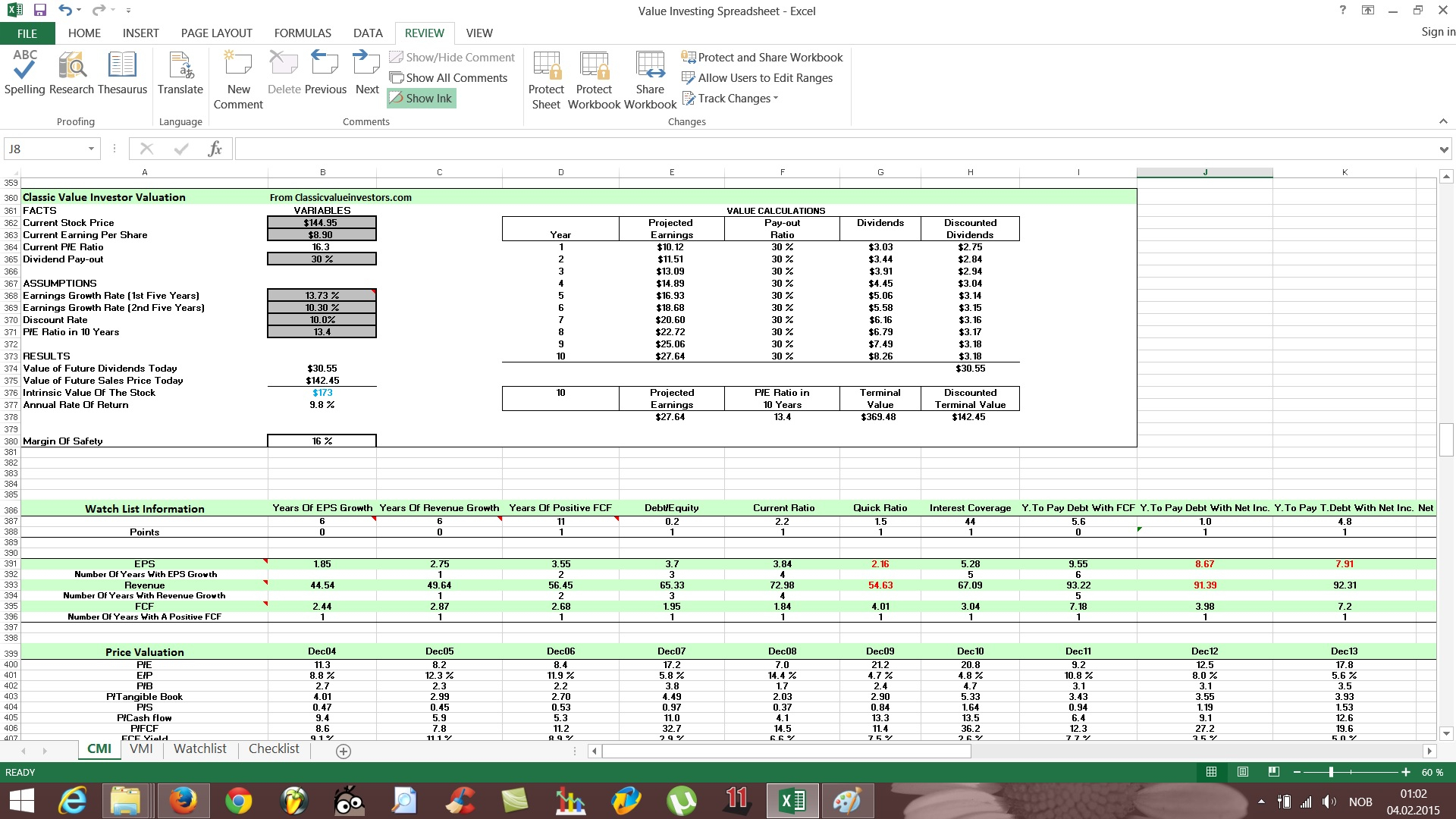 Stock Valuation Spreadsheet Regarding Free Value Investing