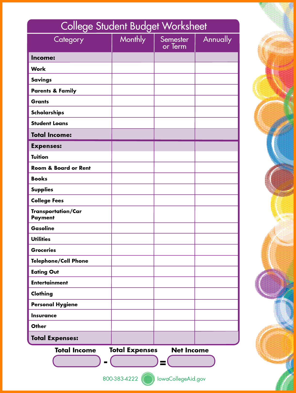Student Expenses Spreadsheet Inside Budget Worksheet For