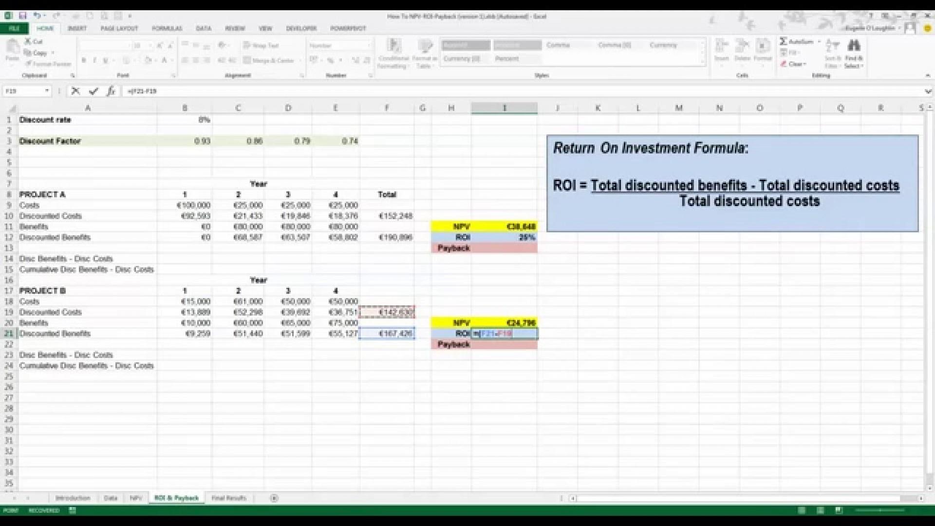 Roi Investment Worksheet