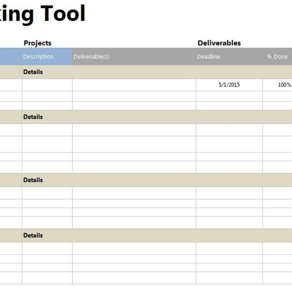 Tool Tracking Spreadsheet For Project Tracker Tool