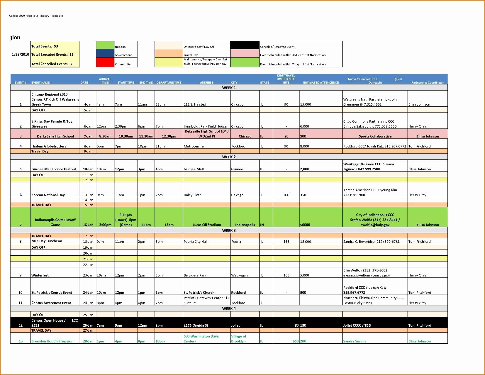 Travel Planner Excel Spreadsheet