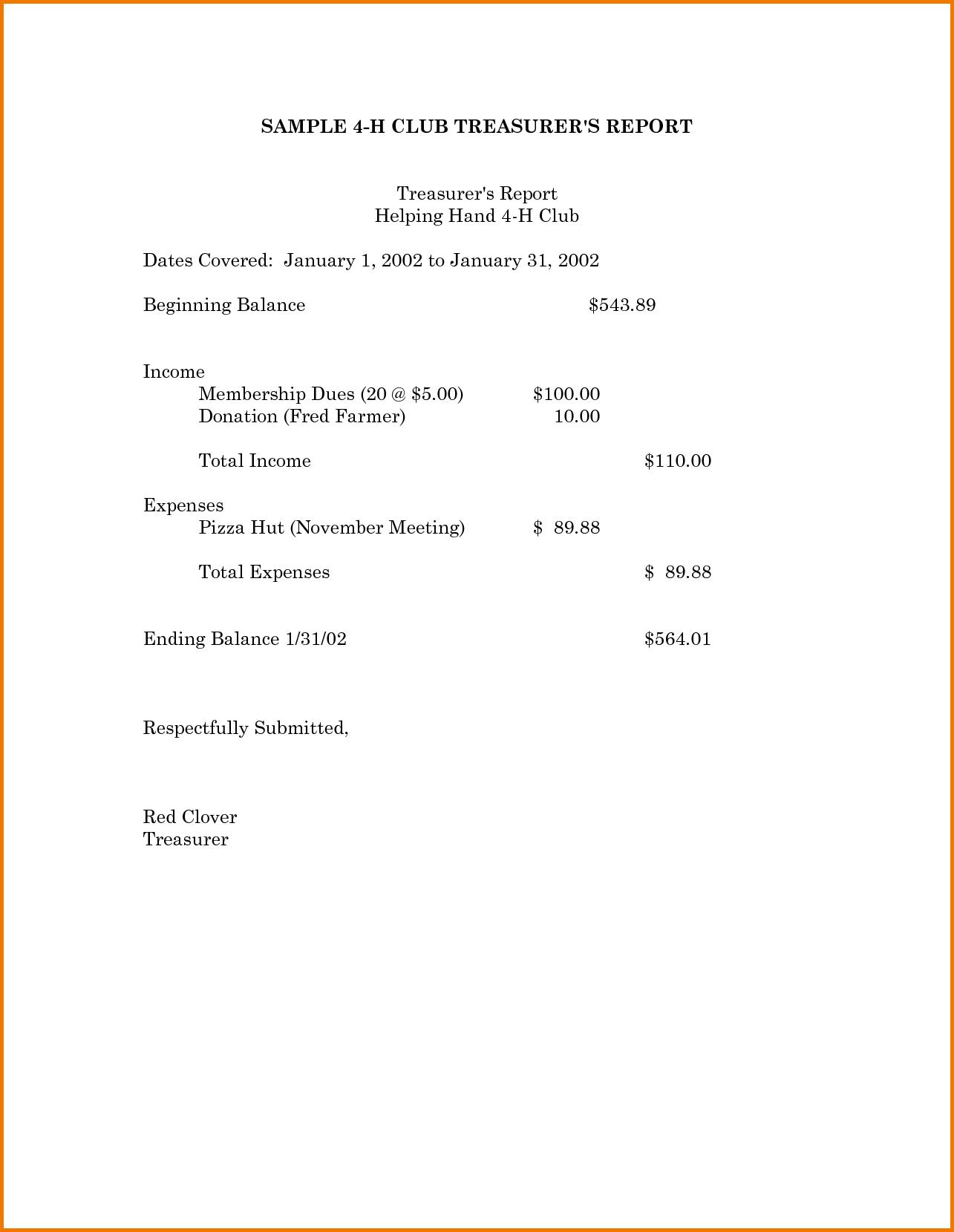 Treasurer S Report Excel Spreadsheet Within Expense Report