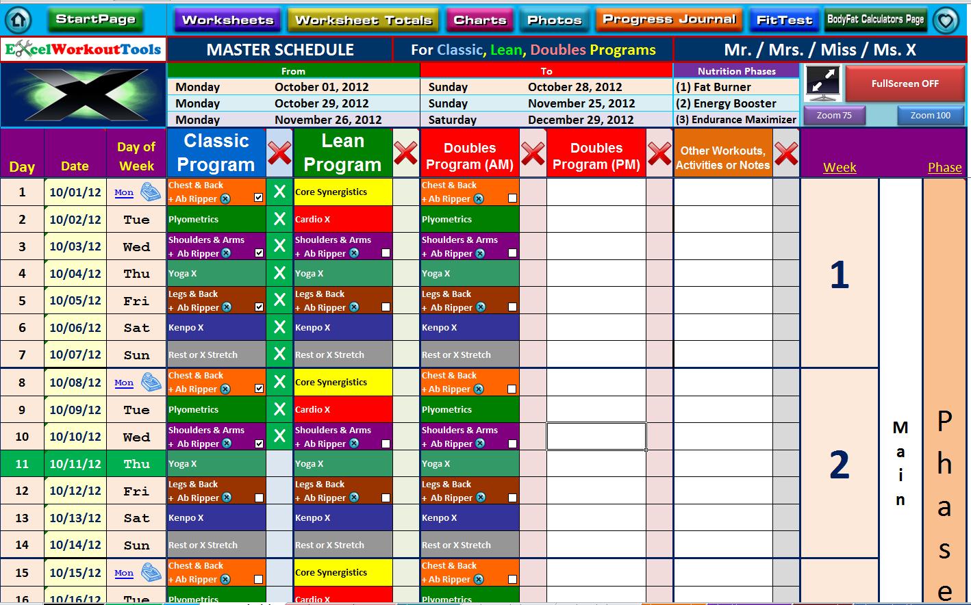 Weather Excel Spreadsheet Regarding P90x Excel Workout