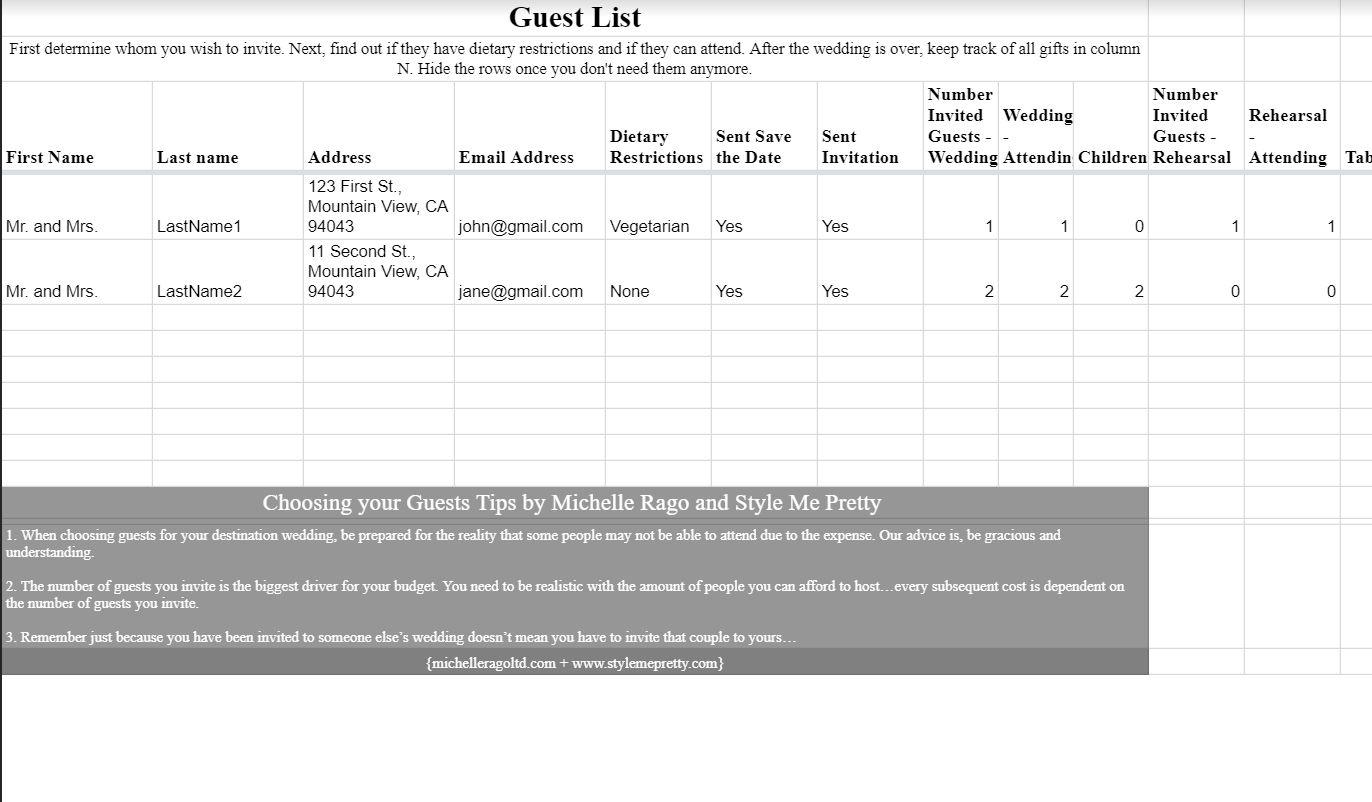 Wedding Address Spreadsheet Spreadshee Wedding