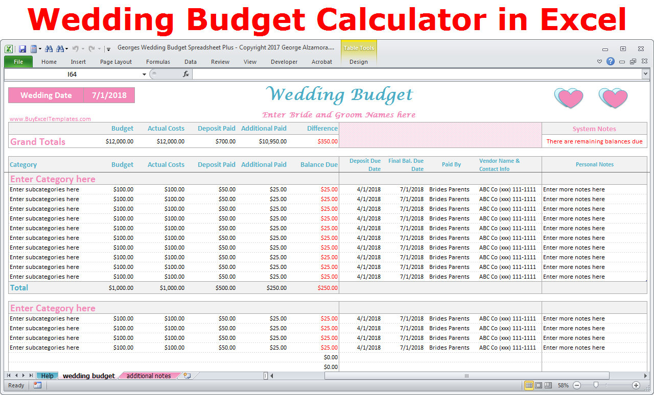 Wedding Budget Calculator Spreadsheet In Wedding Budget