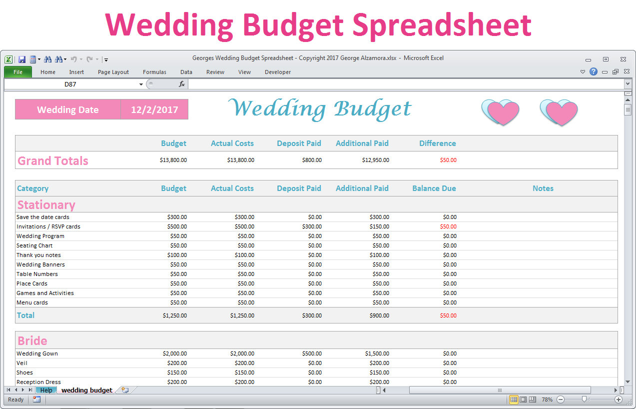 Wedding Budget Calculator Spreadsheet Payment Spreadshee