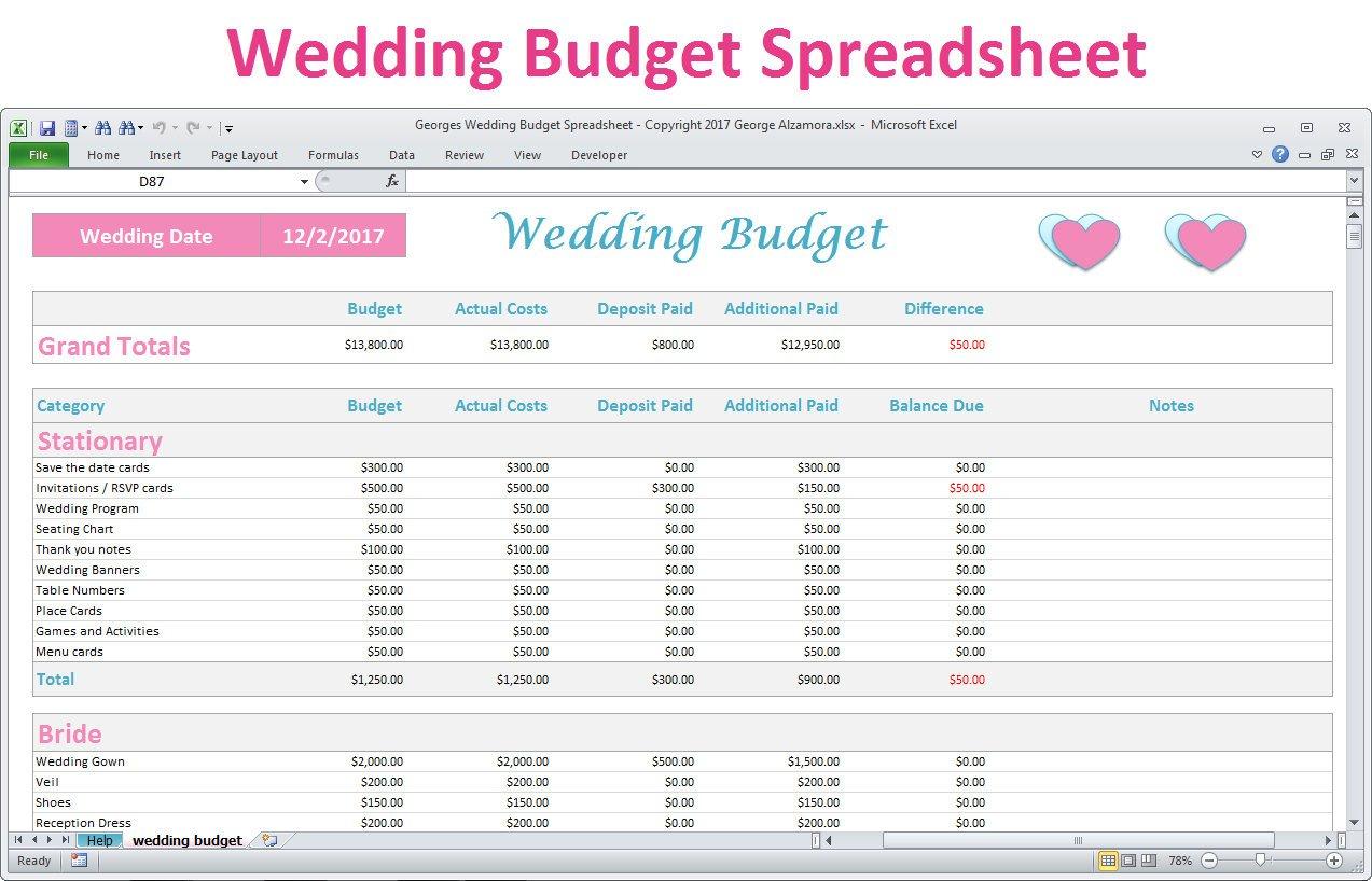 Wedding Budget Spreadsheet Uk Throughout Wedding Budget