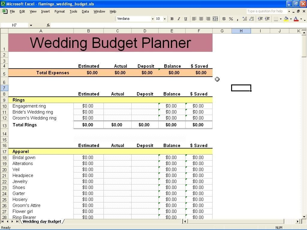 Wedding Cost Breakdown Spreadsheet Db Excel