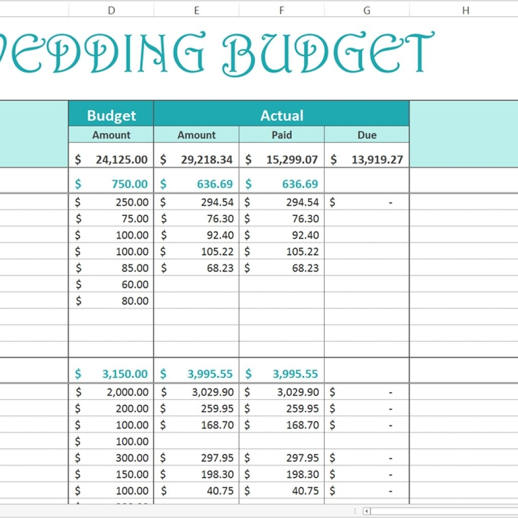 Wedding Expense Excel Spreadsheet Regarding Free Wedding