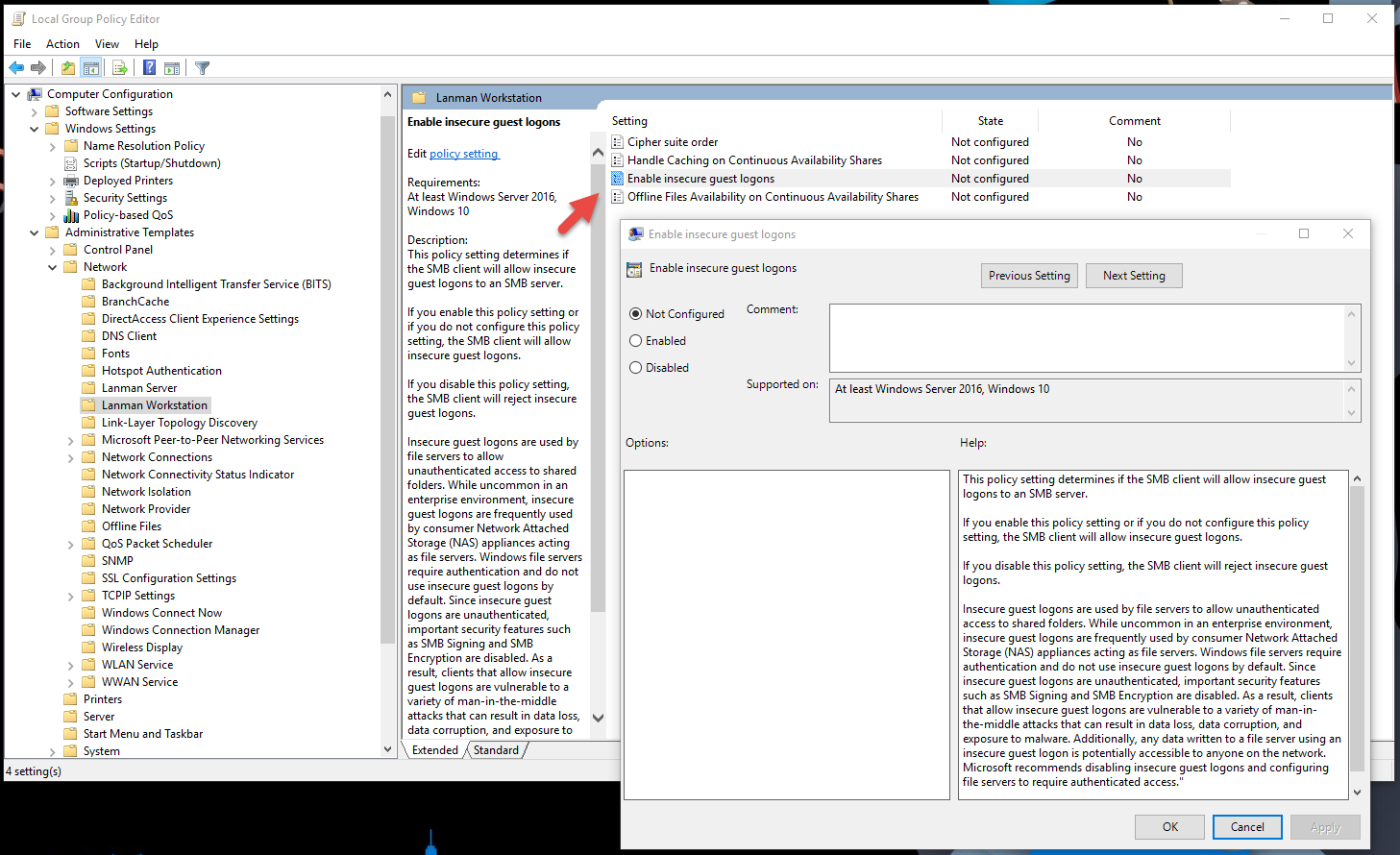 Windows 10 Group Policy Settings Spreadsheet
