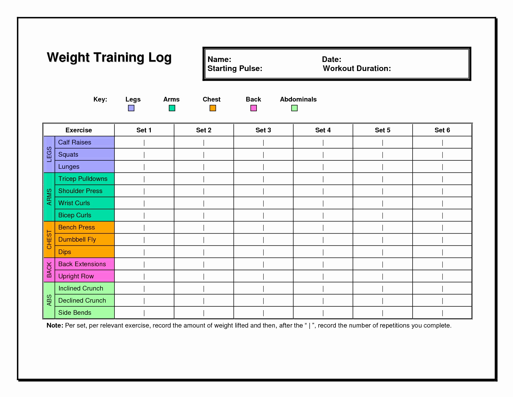 Workout Spreadsheet For Safety Training Tracker Excel