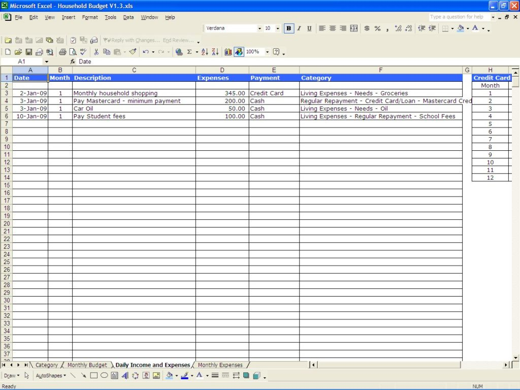 Yearly Expenses Spreadsheet In Sample Businessonthly