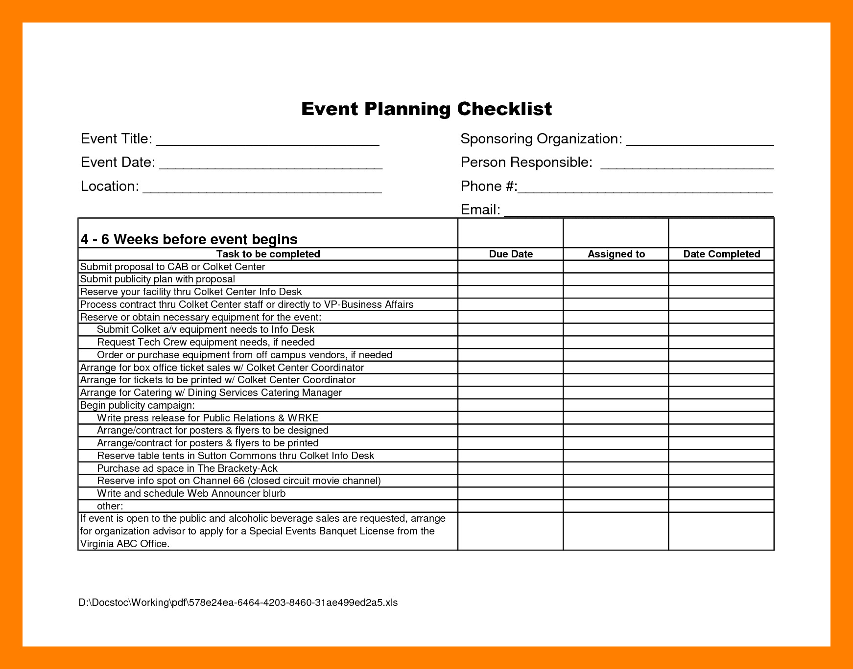 002 Ideas Event Planning Worksheet Free Sl